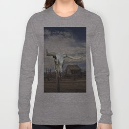 Steer Skull and Western Fenced Corral Long Sleeve T-shirt