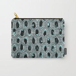 Watercolour Blackwork: 'Lozenge' Burnt Turquoise 1 (light) Carry-All Pouch