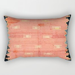 South West Anatolia  Antique Turkish Niche Kilim Print Rectangular Pillow