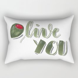 Olive you hand lettered food pun Rectangular Pillow