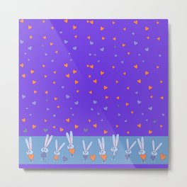 St. Valentine's Day Pattern. Lilac pattern on the blue field, white bunny hold blue and Orange heart Metal Print
