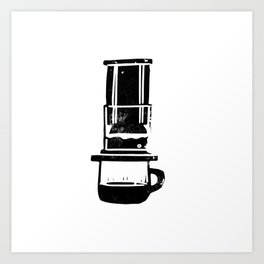 Aeropress linocut black and white minimal coffee art printmaking design Art Print