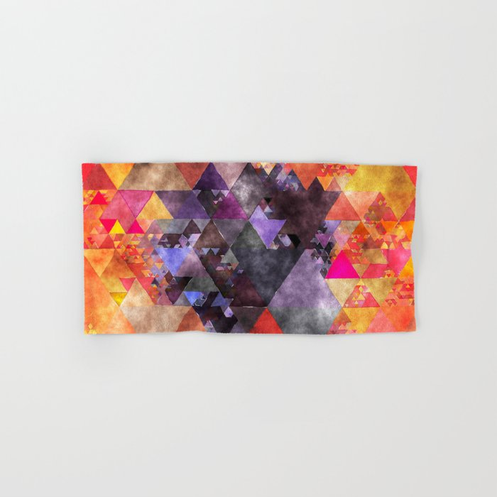 Abstract fire red yellow blue Triangle pattern- Watercolor Illustration Hand & Bath Towel