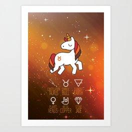 Taurus Unicorn Zodiac Art Print