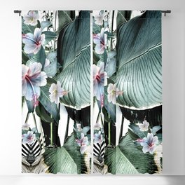 Banana leaf tropical paradise, leaves, hibiscus, Hawaii Blackout Curtain