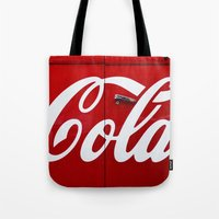 coca cola Tote Bags featuring Coca Cola  by Lia Bernini