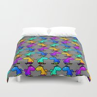 psychadelic Duvet Covers featuring Psychadelic skate dinos by Joe Schultz