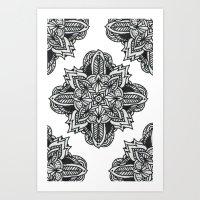zentangle Art Prints featuring zentangle by Maria Velik