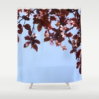 cherry blossom Shower Curtains featuring Cherry Blossom by madbiffymorghulis