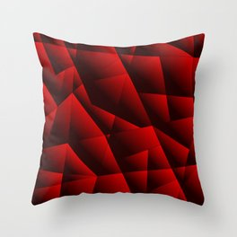 Dark overlapping sheets of red paper triangles. Throw Pillow