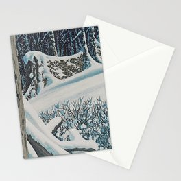 WINTER'S LAST FIREWOOD VINTAGE OIL PAINTING Stationery Cards