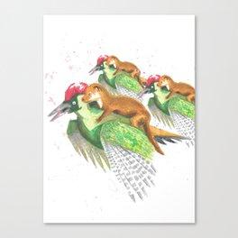 Weasel Riding Woodpecker Gang Canvas Print
