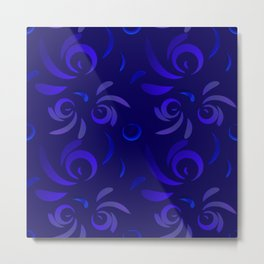 Pattern from violet doodles and curls in floral ornament in ethnic style on a blue background. Metal Print