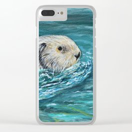 Ooh Goody Lunchtime Sea Otter Painting Clear iPhone Case