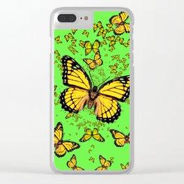 YELLOW BUTTERFLIES GREEN SUMMER ART Clear iPhone Case