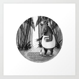 Tapirs are gardeners of forest | Black and White Illustration Art Print