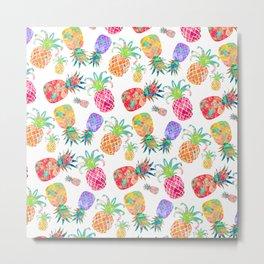Aloha Pineapples, Watercolor Metal Print