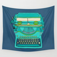 number Wall Tapestries featuring Typewriter Number Five by bluebutton studio