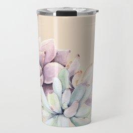 Trendy Apricot + Mint Succulents Travel Mug