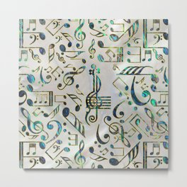 Golden Framed  Musical notes pattern abalone shell Metal Print