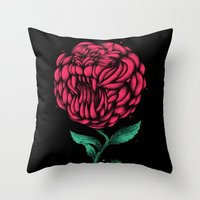 beauty and the beast Throw Pillows featuring Beauty And The Beast by Anwar Rafiee