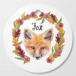Watercolour Woodland Fox Face Wreath Cutting Board
