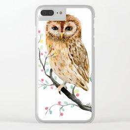 Watercolor Little Owl Portrait Clear iPhone Case