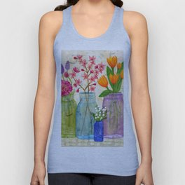 Springs Flowers in Old Jars Unisex Tank Top