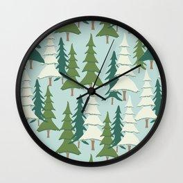 Winter Pines Wall Clock