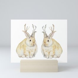 Watercolor Grumpy Jackalope Antler Bunny Mini Art Print