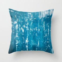 Scratched blue metallic texture Throw Pillow