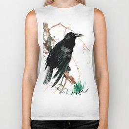 raven, raven crow artwork black brown Biker Tank