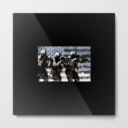 3 Soldiers & US Flag Metal Print
