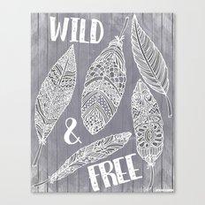 Wild & Free Feathers. White & Grey Edition Canvas Print