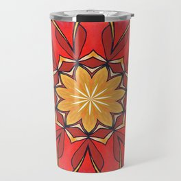 Ochre and Red Abstract Kaleidoscope Travel Mug