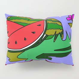 Watermelon with flower and red tile Pillow Sham
