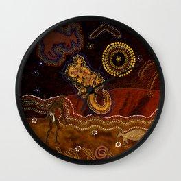 Desert Heat - Australian Aboriginal Art Theme Wall Clock