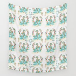 Watercolour Tropical Flowers Wreath Seahorses Summer Time Wall Tapestry