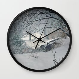 Central Park Snow Storm Wall Clock