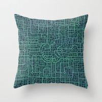 blueprint Throw Pillows featuring Apple Blueprint by Rutmer