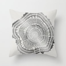 Growth Rings – 65 Years – Silver Throw Pillow
