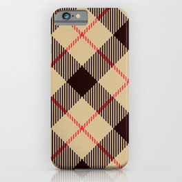 Tan Tartan with Diagonal Black and Red Stripes iPhone Case