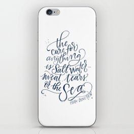The Cure for Anything is Salt Water - Navy Watercolor iPhone Skin