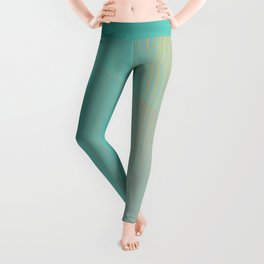 Miami Reflections - Turquoise & Pink Abstract Leggings