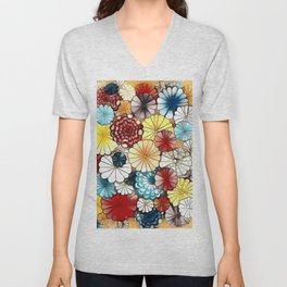 Blooming Flowers Unisex V-Neck