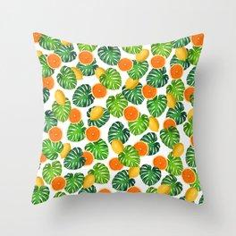 Oranges Lemons Monstera White Throw Pillow