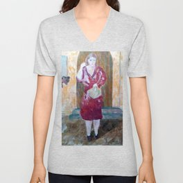 Woman in red Unisex V-Neck