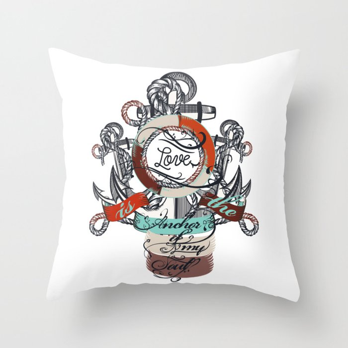 Beautiful marine design, vacation theme with anchor Throw Pillow