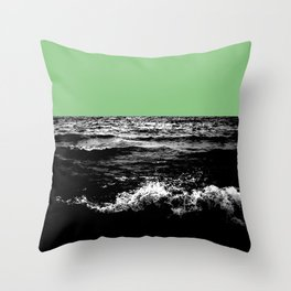 Black Wave w/Mint Green Horizon Throw Pillow