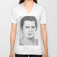 man of steel V-neck T-shirts featuring Man of Steel by Feroz Bukht